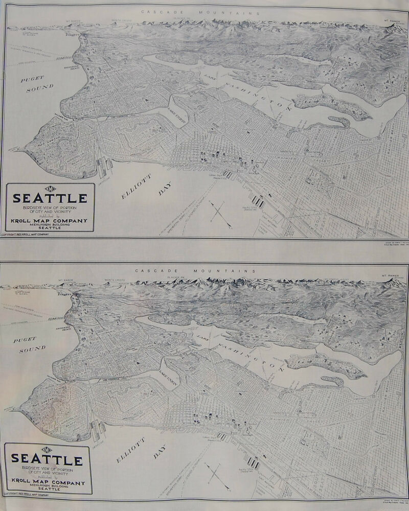 Seattle NW Washington Map Fabric Exclusive Bellevue Mt