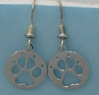 Paw Print Jewelry Silver Dangle Earrings