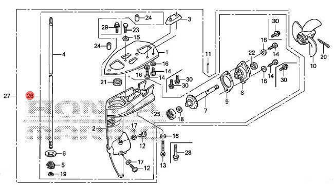 41005-ZW6-C00ZA Honda Marine Short Shaft Lower Unit