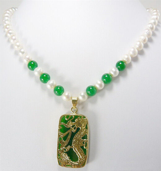 Stunning Real White Pearl Green Jade 18kgp Dragon Pendant