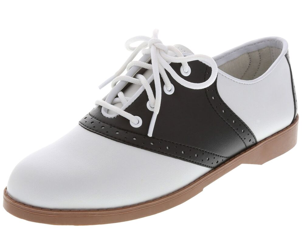 WOMENS CLASSIC 50s STYLE BLACK AND WHITE SADDLE SHOESALL