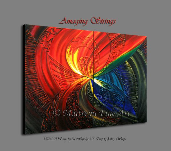 Red Modern Abstract Art Oil Painting