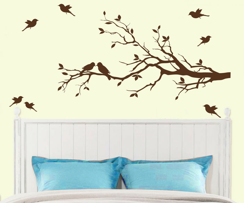 Tree Branch with 10 birds Wall Decal Deco Art Sticker