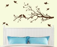 Tree Branch with 10 birds Wall Decal Deco Art Sticker ...