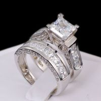 Sterling Silver 14k White Gold Princess Diamond Cut ...