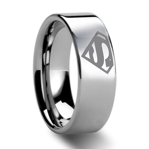 8mm Bridal Mens Superman Tungsten Engagement Ring Ceremony