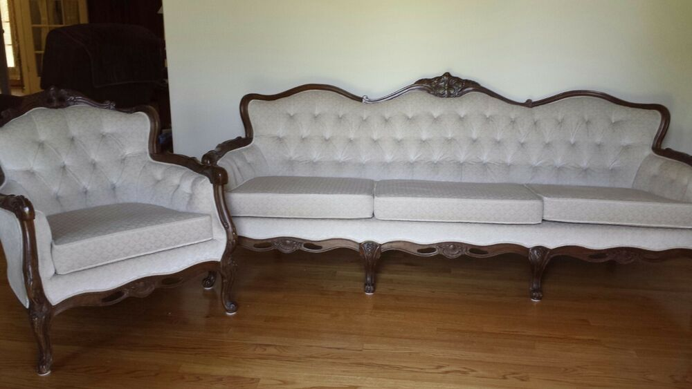 antique queen anne chair wassily brown leather style formal sofa & with cream colored crushed velvet material | ebay