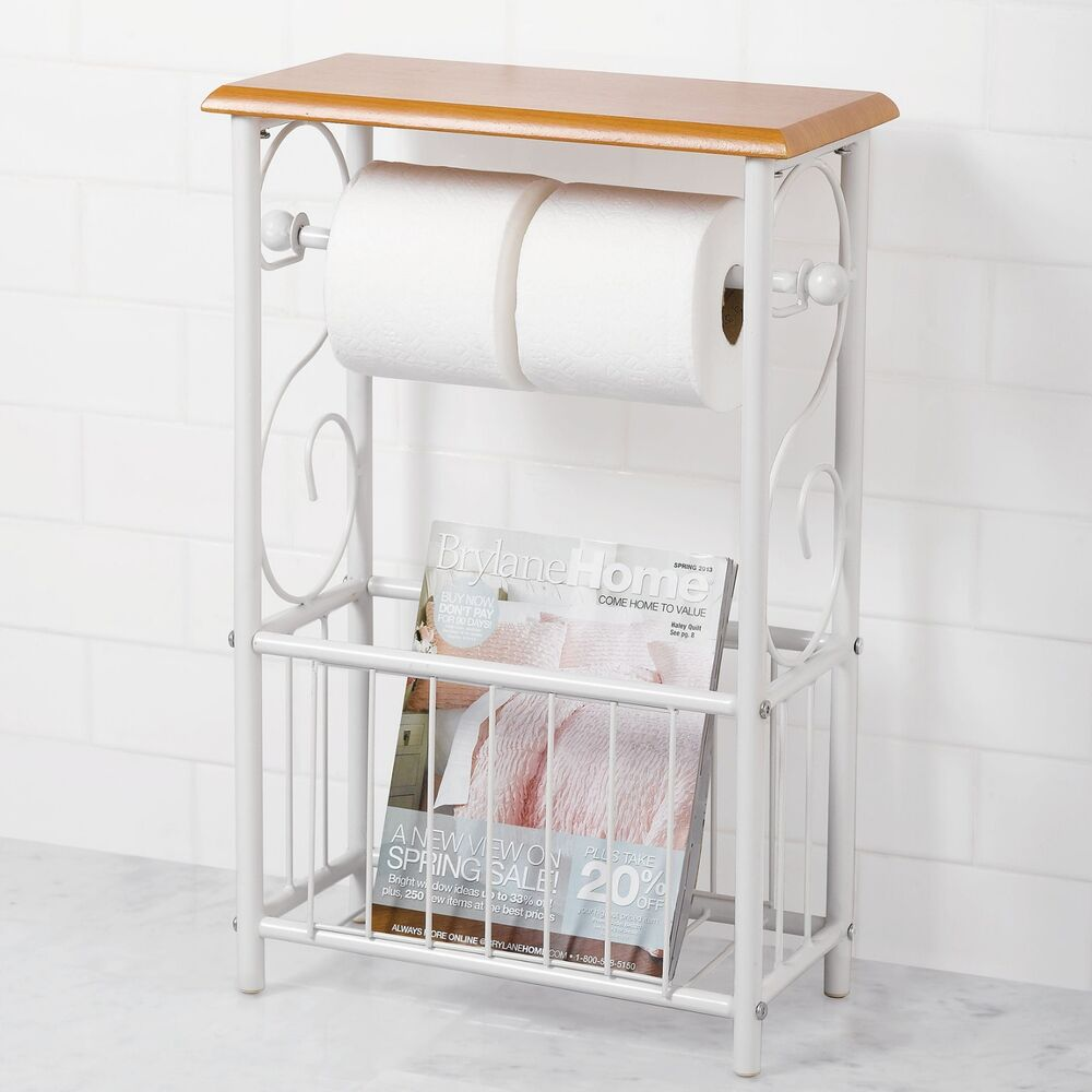 NEW  White Honey Oak Toilet Tissue Paper Magazine Rack