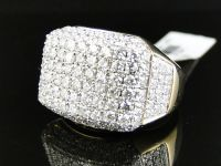 14K Yellow Gold Mens High End Round Cut Vs Pave 3D Diamond ...