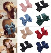 large big satin hair bow with long