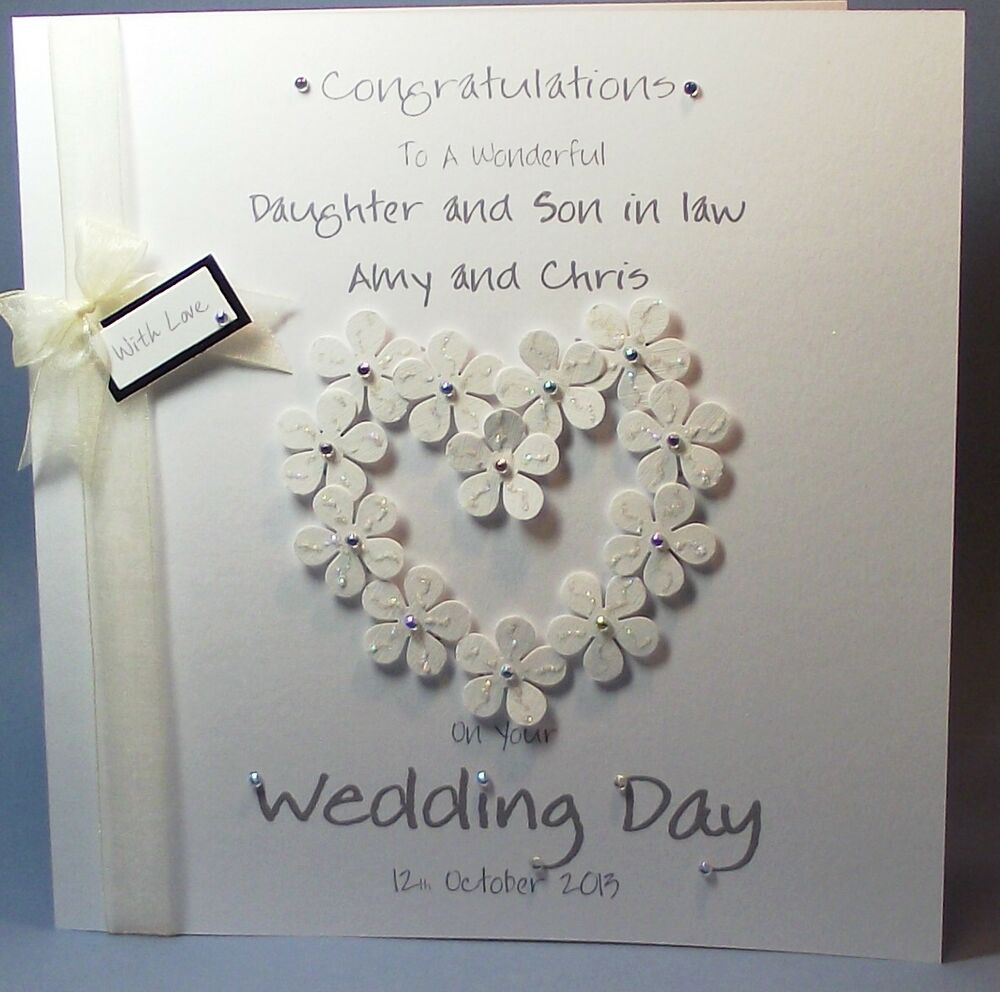 PERSONALISED HANDMADE FLOWER HEART CONGRATS WEDDING DAY