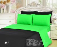Tache 4-6 Piece Solid Neon Lime Green and Black Duvet ...