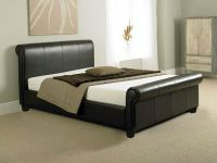 TUSCANY 4FT6 DOUBLE BED OR KING SIZE LEATHER SLEIGH BED ...