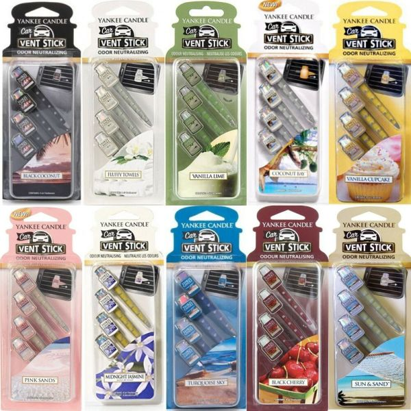 Yankee Candle Vent Sticks Car Air Freshener 4 Pack - Choose 20 Scents