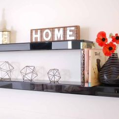 Diy Floating Shelves For My Living Room With Dining Table Designs Black Glass Mirror High Gloss Shelf Wall ...