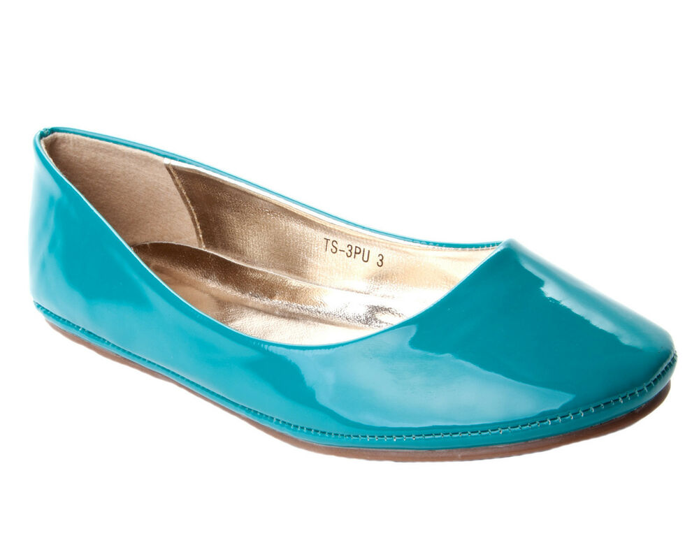WOMENS TURQUOISE PATENT FLAT DOLLY BALLET PUMPS SHOES