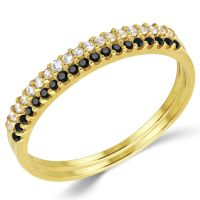 14K Solid Yellow Gold CZ Cubic Zirconia Stackable ...