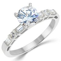 14K Solid White Gold CZ Cubic Zirconia Solitaire ...