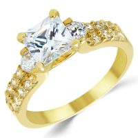 14K Solid Yellow Gold CZ Cubic Zirconia Three Stone