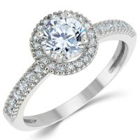 14K Solid White Gold CZ Cubic Zirconia Halo Design ...