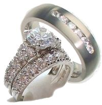 His & Hers 3 Piece Engagement Wedding Ring Set 925 ...