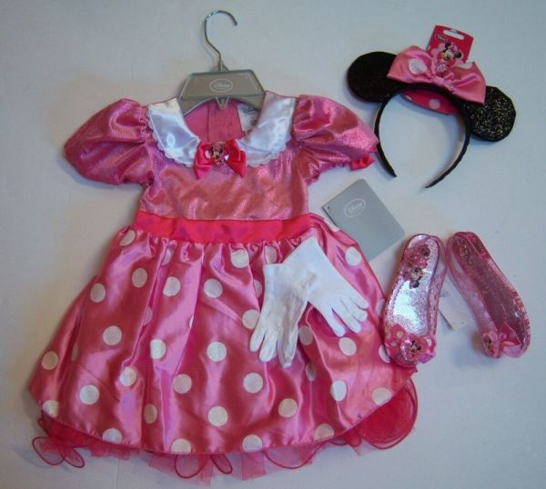 Nwt Disney Pink Minnie Mouse Sz 3 3t Costume Dress Ears Headband Gloves & Shoes