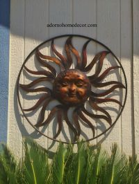 Large Round Metal Sun Wall Decor Rustic Garden Art Indoor