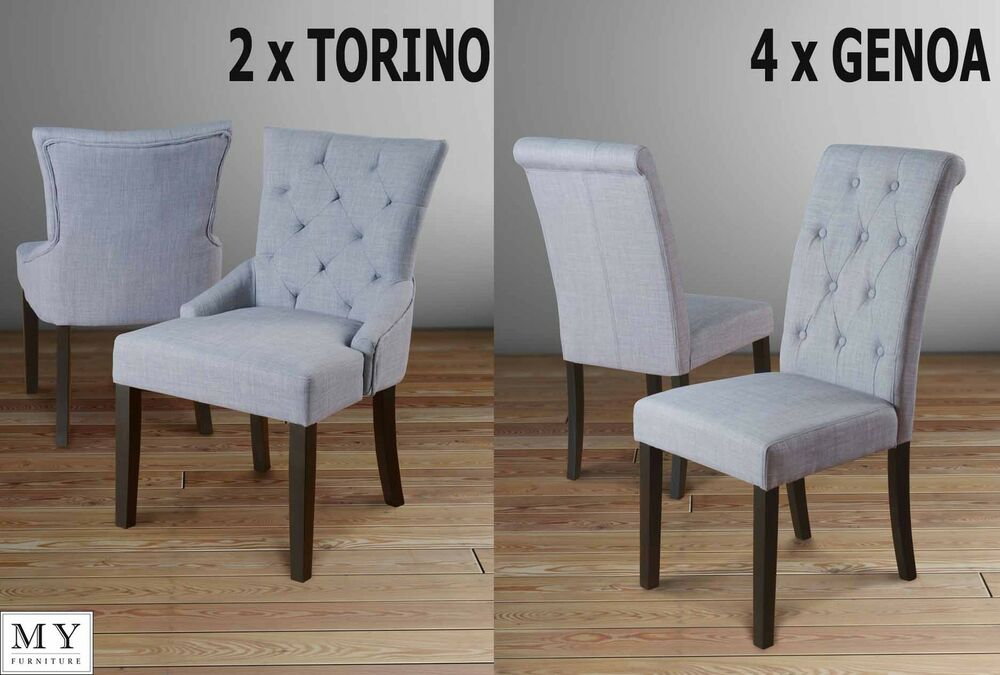 SET OF 6 HIGH QUALITY UPHOLSTERED DINING CHAIRS  GREY