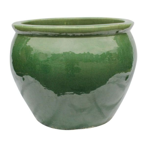 "20"" Ceramic Oriental Fishbowl Planter In Jade Green"