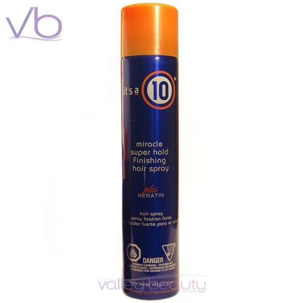 ' 10 Miracle Super Hold Finishing Hair Spray Keratin 10oz