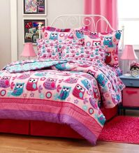 HOOT OWLS Girls Pink Teal Nature Flowers Twin Full Queen ...