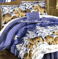WOLVES-WOLF Pack Wildlife CABIN LODGE Animal Print BLUE ...