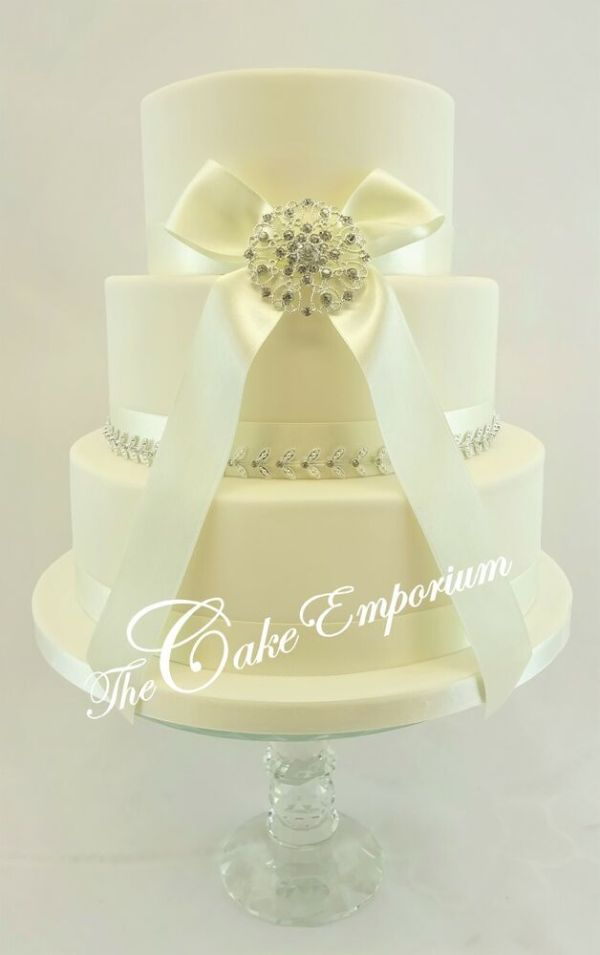 Wedding Cake Large Rhinestone Buckle Satin