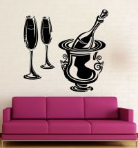 Wall Stickers Vinyl Decal Restaurant Wine Champagne Drink ...