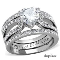 3.15 Ct Heart Shape CZ Wedding & Engagement Ring 3 Piece ...