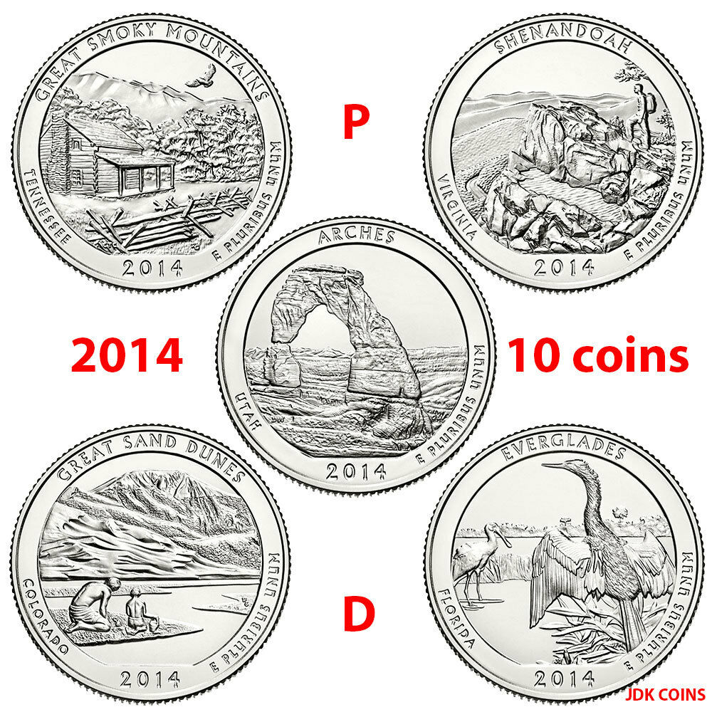 2014 P&D NATIONAL PARK QUARTERS COMPLETE 10 COIN SET
