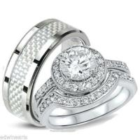 His and Hers Wedding Rings 3 Piece Halo Cz Ring Set ...