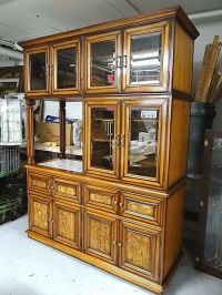 Mid Century Modern teak wood bar + stereo display cabinet ...