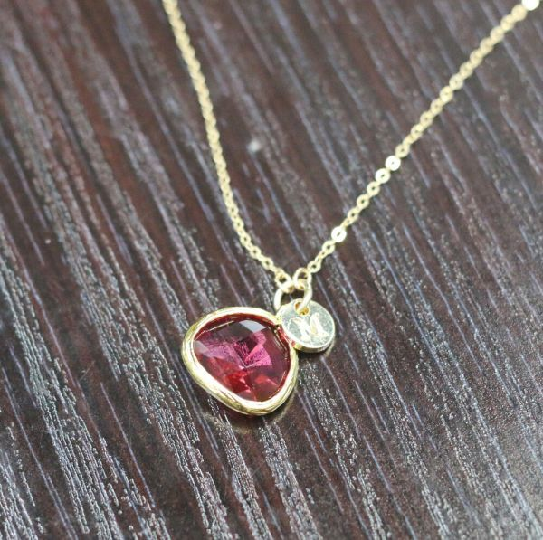 Birthstone Pendant Initial Charm Necklace Personalized