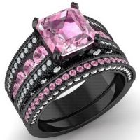 925 Black Sterling Silver CZ Moissanite Pink Radiant ...