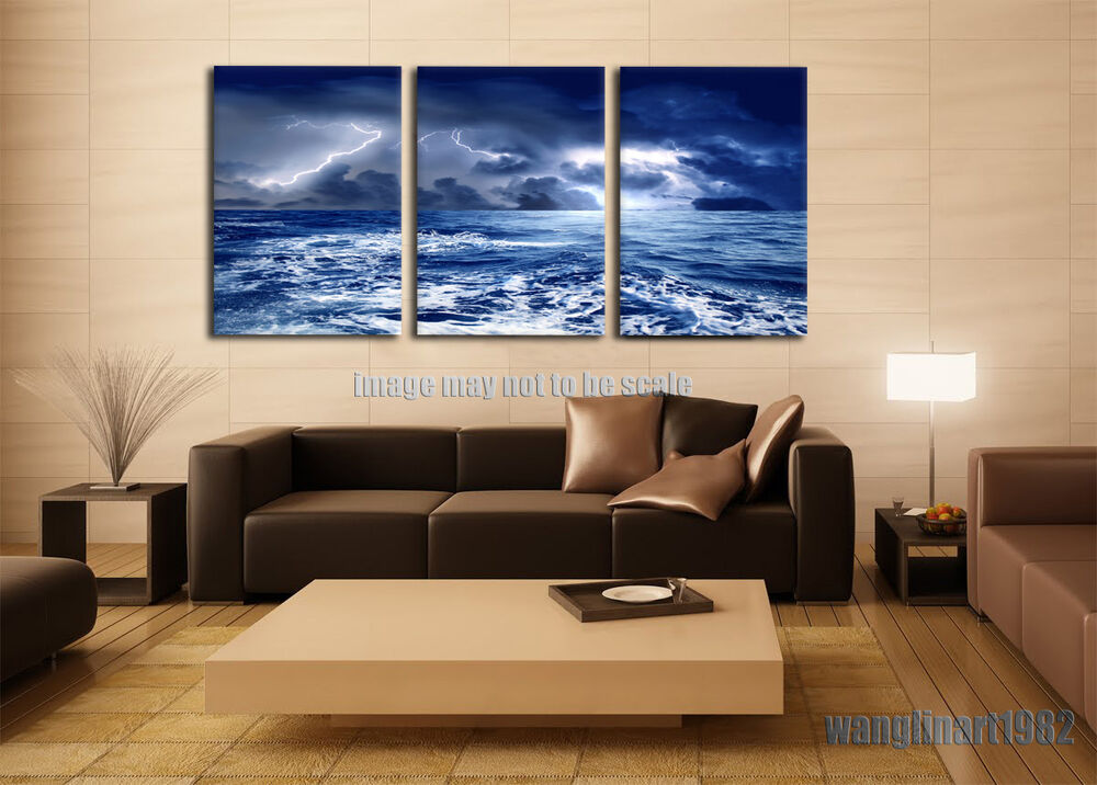 Large Stormy Sea Water Canvas Painting Poster Print No