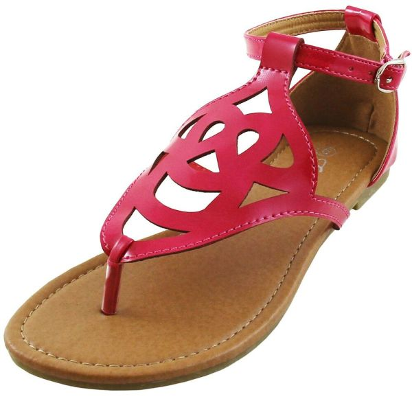 Women' Shoes Sandal Flat T Strap Buckle Closure Summer Casual Hot Pink