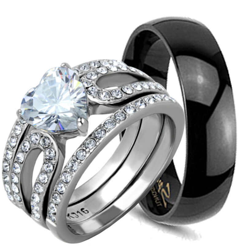 4 His  Hers Black TUNGSTEN Mens Wedding Band Ring Set