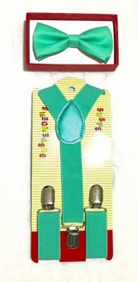 New Teal Toddler Kids Bow Tie and Suspenders Set - Baby ...