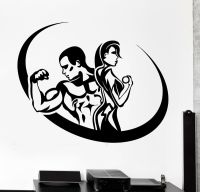 Wall Sticker Sport Fitness Bodybuilding Man And Woman Gym ...