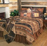 Rustic Cabin Lodge Bedding Set Deer Bear Autumn Trails ...