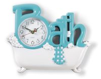BLUE Bathroom Wall Clock Bath Powder Room Hanging Home ...