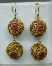 vintage antique 18kt gold earrings ruby gemstone earrings ...