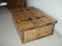 Storage Coffee Table / Wood Chest, Rough Sawn 2inch Thick ...