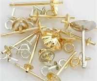 14K Solid Yellow Gold Pearl Cup Stud Earring Posts Mounts ...